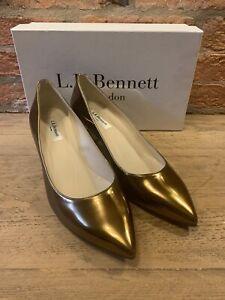 LK BENNETT Annabelle Warm Gold Mirror Metallic Pointed Court Shoe 40