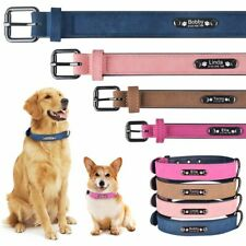 Personalized Dog Collar Soft Leather Collar Free Engraved ID Tag for Pets XS-L