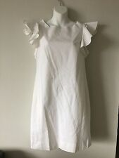 NWT NORMALUISA ITALIAN LUXURY WHITE RUFFLE SLEEVE GOLD BUTTON DRESS SIZE 42