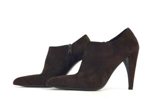 Prada Brown Suede Pointed Toe High Heel Booties Boots Shoes Size 37