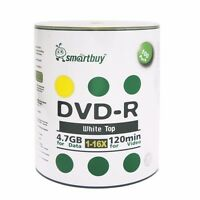 Smartbuy DVD-R 16X 4.7GB/120Min White Top (Non-Printable) Blank Recordable Disc