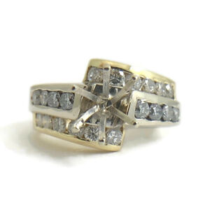 Two-Tone Channel Diamond Engagement Ring Setting Mounting 14K Yellow Gold 11.4 G