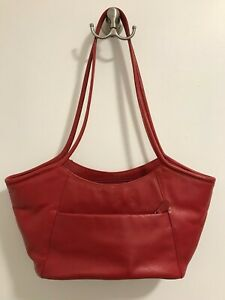 Derek Alexander Red Leather Handbag 3 sections/3 compartments w/zippers-Gorgeous