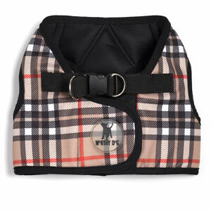 THE WORTHY DOG Sidekick Printed Reflective Tan Plaid Dog Harness Sizes XXS-XXXL