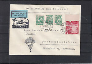 Flugpost Brief ECHT gelaufen 1. Milit. Grossflugtag Abwurf Leoben 21.9.1937