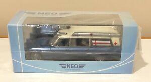 NEO 1966 Cadillac S&S Sayers & Scovill High Top Ambulance Metallic Blue 1/43