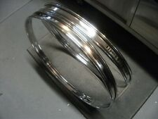 "NEW Pair 20"" Chrome Steel Bass Drum Hoops/Rims. 1.75"" Wide w/ 3/4"" Inlays."