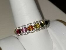 Ross Simons multi color sapphire rainbow 18k yellow gold/Sterling Silver Ring