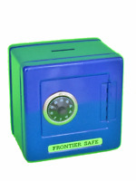 "Blue Metal Kid Coin Safe Piggy Bank Cash Box with Combination Lock 5.25""H,SS621L"