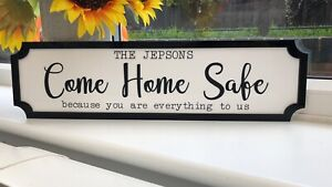 PERSONALISED ACRYLIC FAMILY COME HOME SAFE RAILWAY SIGN PLAQUE GREAT GIFT