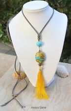 Turquoise w gold foiled lampwork glass Tassel tassels pendant necklace Handmade