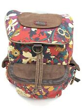 SAKROOTS - Flower Power Peace Canvas Flap Backpack Lots of Pockets *Defect