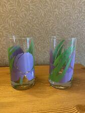 Purple Iris Green Leaves La Rue Drinking Glasses Floral MCM Retro Vintage LaRue