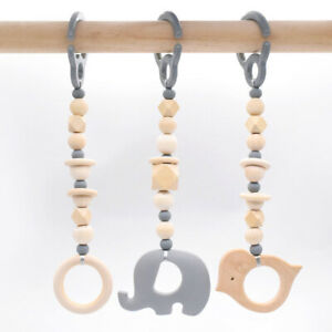 Baby Silicone Elephant Teether Play Gym Toys Hexagon Wood Beads Hanging Pram Toy