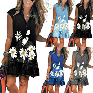 Lady Mini Denim Sundress V Neck Flower Printed Ruffle Hem Cap Sleeve Shirt Dress