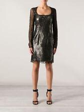 New $2,240 EMILIO PUCCI Lace Lamè Black Gold Dress Open Back 42 8