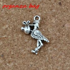 15pcs  Antiqued Silver Stork New Baby Pregnant Expecting  Charms  DIY Jewelry