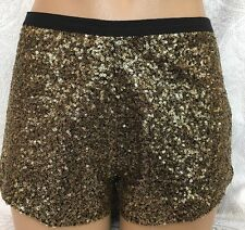 style Stalker Sequined Shorts Gold And Black Size 2
