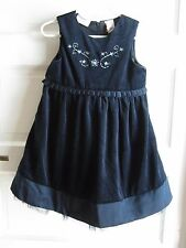Little Bitty Embroidered Floral Velvet Pleated Tulle Party Dress Girls 4T Navy