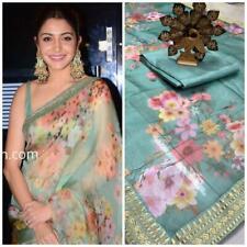 Floral Print Saree Sari Indian Organza Silk Designer Wear Party Pakistani Fancy