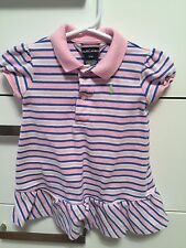 POLO RALPH LAUREN Baby Girl dress pink, blue and white stripes Size 12 months