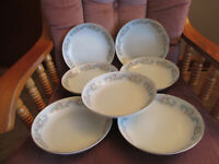 "7 Happy Home Fine China Soup/Salad Bowls Rose Bud Pattern Japan 7 5/8"" x 1 3/8"""