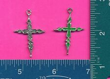 lead free pewter cross pendant with green epoxy 4001-3