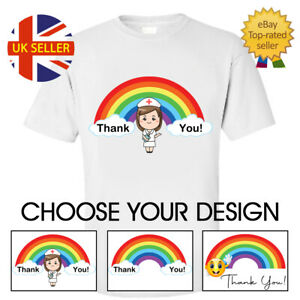 lady's Top T-shirt Thank You NHS Key Workers Rainbow Design Woman Man Kids Gift