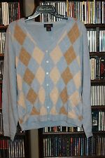Brooks Brothers 346 Merino wool Argyle Cardigan Sweater Ladies Unisex L    (B86)