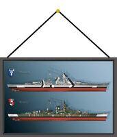 Schlachtschiff Bismarck Tirpitz Schild mit Kordel Tin Sign 20 x 30 cm FA0671-K