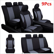 9 Part Car Seat Covers Protector Set for Auto Car Front & Rear Seats Headrests