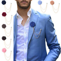 Men Rose Flower Brooch Suit Boutonniere Pin Wedding Party Accessories Decor