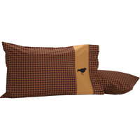 HERITAGE FARMS Crow Std Pillow Case Set/2 Primitive Burgundy check  - VHC Brands