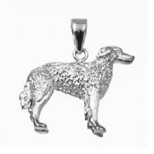 Sterling Silver Borzoi Dog 3D Solid Pendant / Charm, Made in Usa