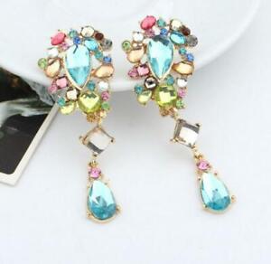 Enamel Jewelry Betsey Johnson Rhinestone crystal Flower earring Europe America
