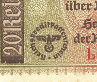 WW2 ORIGINAL NAZI Germany Third Reichs Banknote 20 Reichsmark 1940-1945/L