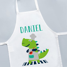 Personalised Dinosaur Dino Chef Cute Boys Kids Childrens Apron Cooking Baking