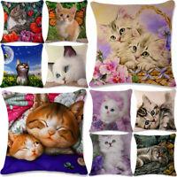 18''Lovely Cat Linen Pillowcase Pillow Cover Case Cushion Office Sofa Home Decor