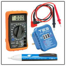 Digital Multimeter VOLTAGE Detector PEN Socket TESTER Set Electrical Testing Kit