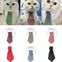 Cute Small Pet Cat Dog Formal Striped Bow Tie Collar Tuxedo Neck Tie With Collar
