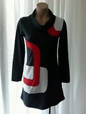 MOD RETRO T SHIRT DRESS MINI GREY WITH RED & WHITE GEOMETRIC DETAIL SIZE 10