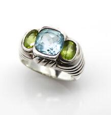 JUDITH RIPKA, A Rare Vintage Sterling Silver Ring, Size 8.5, Blue Topaz-Peridot