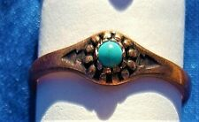 Hand Crafted Copper Ring~Turquiose Starburst~Copper Healing Effects~VERY PRETTY