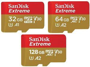SanDisk Extreme 32GB 64GB 128GB MicroSDXC/SDHC UHS-I Memory Card- C10, U3, V30,