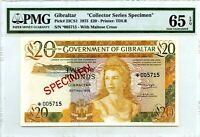 GIBRALTAR 20 POUNDS SPECIMEN PMG GEM UNC PICK 23 CS 1 VALUE $700