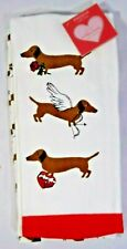 EnVogue With Love Valentines Day Kitchen Towels Set of 2 Cupid Dachshunds Gift