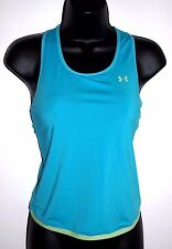 Under Armour Size Small Womens Sleeveless Blue with Green Trim Racer Back Shirt