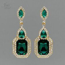 Gold Plated GP Emerald Green Crystal Rhinestone Wedding Drop Dangle Earrings 793