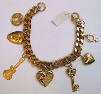 bracelet bijou vintage couleur or gourmette pampille guitare coeur clef  3358