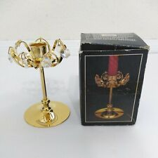 Vtg Strass swarovski Crystal 24k Gold Plated Candlestick Holder